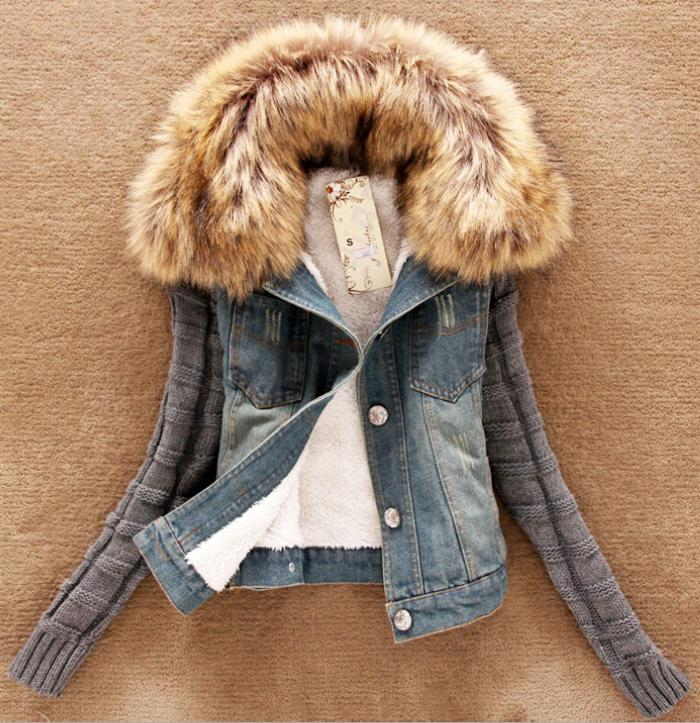 Джинсовая куртка с мехом